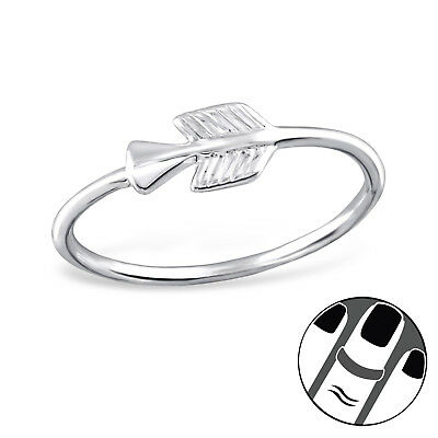 TJS 925 Sterling Silver Midi Ring Arrow US Size 3.5 Fine Knuckle Jewellery