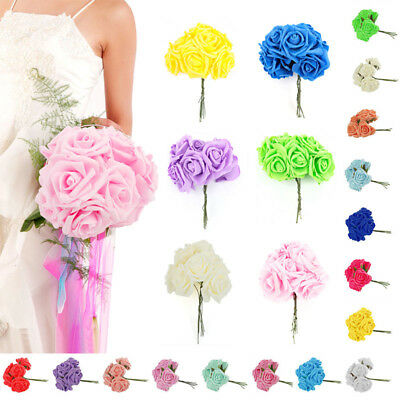 10-100 Artificial Foam Roses Flowers With Stem Wedding Bride Bouquet Home Decor