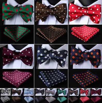 Classic Polka Dot Bow Tie Woven Party Wedding Self Bow Tie handkerchief set#R06
