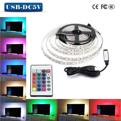 0.5/1/2/3/4/5M USB LED Strip Light RGB 5050 TV Back Lamp Colour Changing Remote