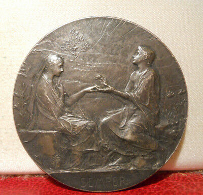 1897 RARE SILVER 41mm ART NOUVEAU MEDAL SEMPER MARIAGE WEDDING by Roty W/CASE