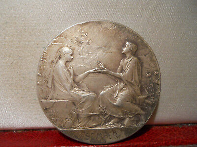 1903 RARE SILVER 41mm ART NOUVEAU MEDAL SEMPER MARIAGE WEDDING by Roty W/CASE