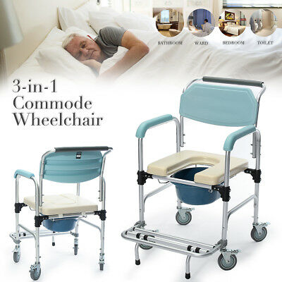 3 in 1 Commode Wheelchair Bedside Toilet & Shower Seat Bathroom Rolling Chair