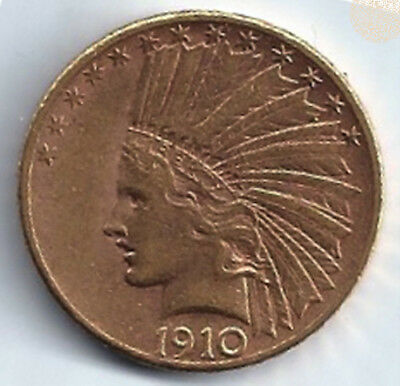 1910 S Gold United States $10 Dollar Indian Head Coin