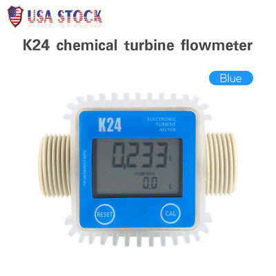 New Blue Pro K24 Turbine Digital Diesel Fuel Flow Meter For Chemicals Water US
