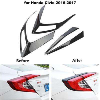 4x Carbon Fiber Rear Tail Light Cover Decoration Frame For Honda Civic 2016 2017