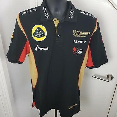 LOTUS F1 TEAM Renault Polo Shirt Official Kimi Raikkonen Black Size Medium