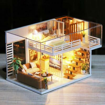 DIY Doll House Toy Wooden Miniature Dollhouse Toys With Furniture Assemble Gift