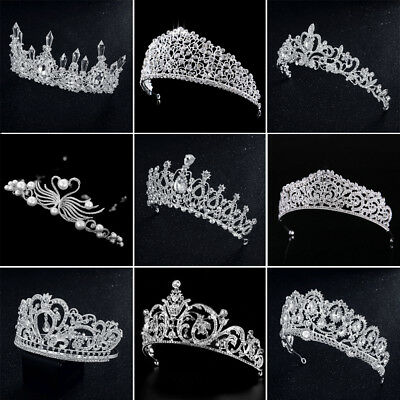 New Bridal Wedding Crystal Flower Tiara Crown Pearl Rhinestone Hair Headband