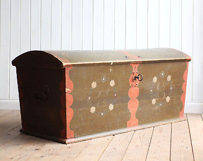 Fantastic Huge Vintage Antique Swedish Painted Marriage Chest Trunk Coffer 1831