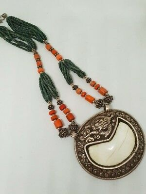 Rare vintage Tibetan carved silver ,coral,malachite and conch shell necklace