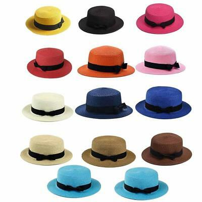 WOMEN SUMMER BEACH Sun Hats Flat Top Straw Hat Boater Hat ! -  3.32 ... 277bf1aff6fb
