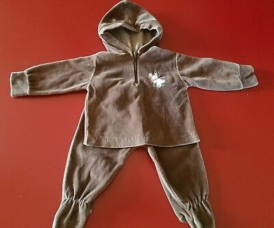 Vintage Baby Boy Brown Hooded Footed Velour 2 Piece  Romper Set Embroidered Rab