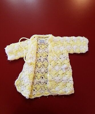 Vintage Infant Hand Made Sweater Yellow White 3/4 Sleeve Drawstring Tass 6 Pearl