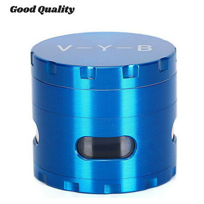 "Large Spice Tobacco Herb Weed Grinder-4 Pcs with Pollen Catcher 2.5"" Gift Blue L"