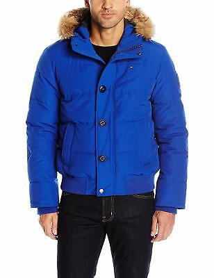 Tommy Hilfiger Men's Arctic Cloth Quilted Snorkel Bomber Jacket W/ Removable
