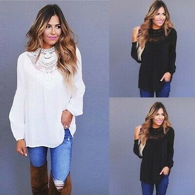 Plus Size Womens Summer Lace Blouse Ladies Long Sleeve Casual Mesh Top Pullover