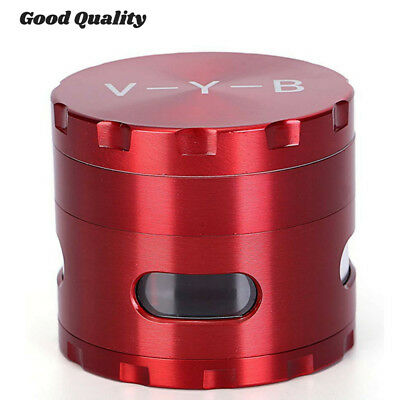 "Large Spice Tobacco Herb Weed Grinder-4 Pcs with Pollen Catcher 2.5"" Gift Red L"