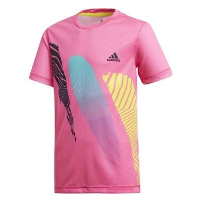 Adidas Boys Seasonal Tennis T-Shirt - NEW - Shock Pink