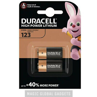 Genuine 2X Duracell Cr123 3V Lithium Photo Battery Dl123A/cr17345 Expiry 2024