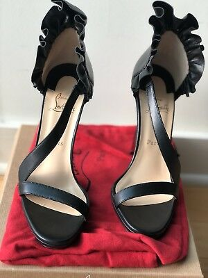 60cede0ab54a CHRISTIAN LOUBOUTIN GOLDEN Wings Suede Open Toe Heels Never Worn ...
