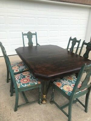 Refinished Antique Octagon Farmhouse Table and  Six Chairs MUST SEE!