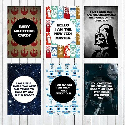 Baby Milestone Cards, 4x6 Photo Prop, 29 cards, Star Wars, Jedi, Darth vadar