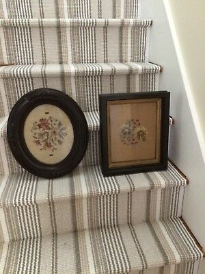 Two Old Framed Needleworks, one Oval and one Rectangle
