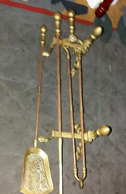 Old ball and claw FIRE DOGS LONG HANDLED SOLID BRASS FIRESIDE COMPANION SET