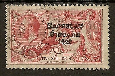 Ireland 1925 Narrow Date 5/- Seahorse Sg84 Fine Used Cat £150
