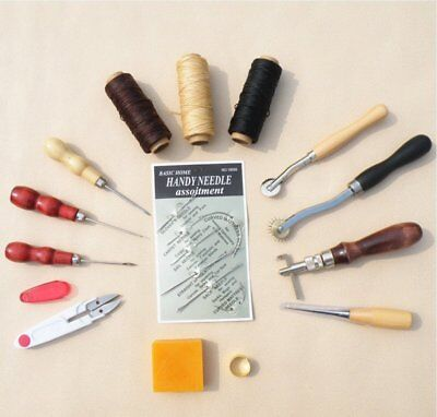 Neu 14tlg Leder Werkzeug Leather Craft Hand Sewing Stitching Groover Tool Kit-DE