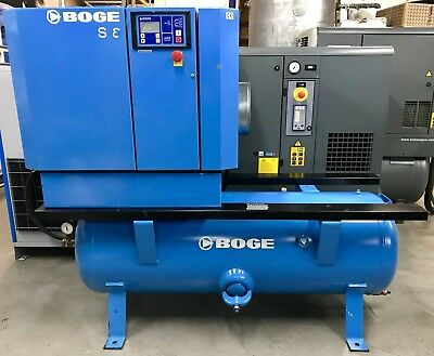 Boge S8/270 Receiver Mounted Rotary Screw Compressor, 5.5Kw, 30Cfm Perfect Order