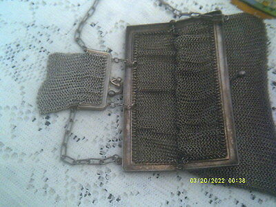Antique Silver Plated Mesh Bag With Purse Attached Inside, On Chain.superb