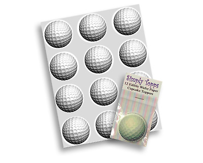 12 Golf Ball Rice Paper cupcake Decoration Toppers Precut 40mm Birthday cake
