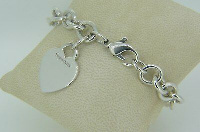 "33.3 Grams Sterling Silver 7 3/4"" Bracelet With Heart Tag Tiffany & Co V40"