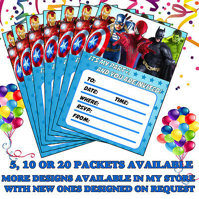 Childrens Superhero Party Invites Birthday Invitations Boys Girls Kids Childs