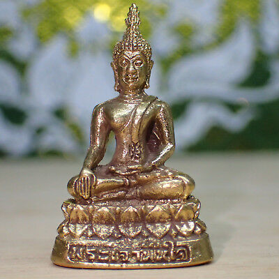 Thai Buddha Statue Phra Lp.than Jai Meditation Lucky Holy Amulet Gold Color