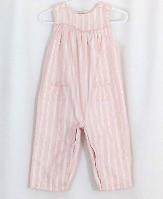 Janie and Jack Size 12 - 18M Pink White Striped Overalls Romper Dotted Swiss