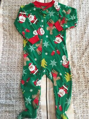 Carters Child Of Mine Baby Boy Christmas One Piece Zipper Pajamas - 18 Months