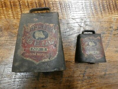 Pair of Antique Holstein Cow Bells - BLUM MFG. Co.- #1 and #5- With Labels