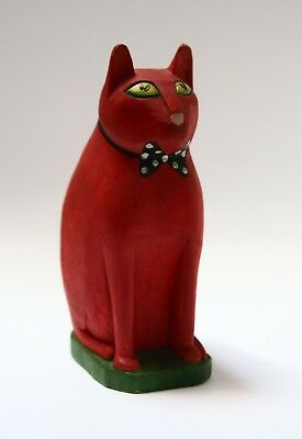 Carved Folk Art Wood Wooden Cat Signed Figurine Red Artisan Handmade 8 inches