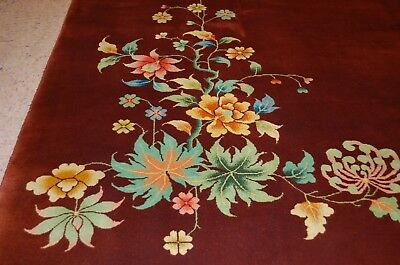 Cir 1920s ANTIQUE MINT ART DECO ROOM SIZE CHINESE NICHOLS RUG 8.11x11.7 MUST SEE