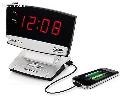 Digital Red LED Screen Electric Alarm Clock With Snooze And USB Charging Port