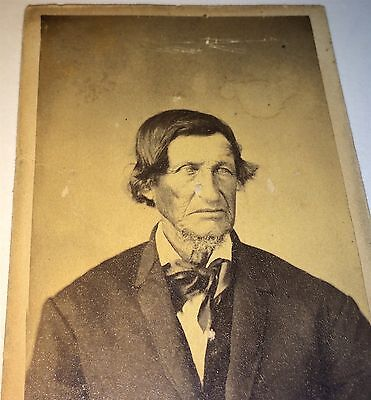 Antique Victorian Very Old Man, Small Goatee Beard! Plymouth, Ohio! CDV Photo!