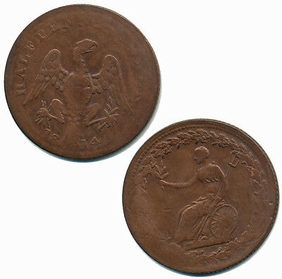 colonial CANADA ★ Halfpenny Token 1814 * copper * eagle ★ VERY RARE! ★ BRITAIN