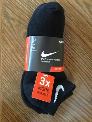 Youth Nike Low Cut 3 Pack Black Performance Socks Size Medium Shoe 5Y-7Y NWT