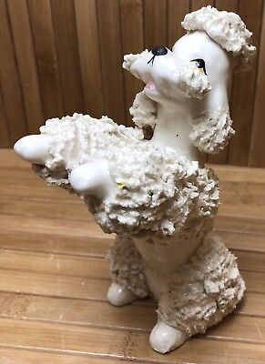 Vintage White Poodle Dog Figurine Spaghetti Fur Painted Eyes Japan