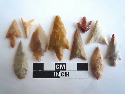 Neolithic Arrowheads x 10, High Quality Selection of Styles - 4000BC - (2118)