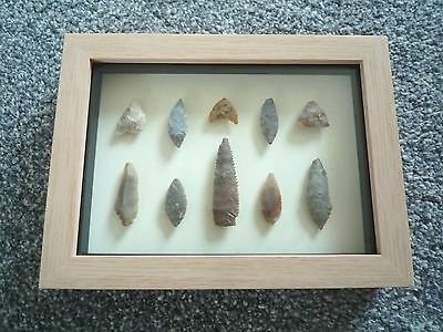 Neolithic Arrowheads in 3D Picture Frame, Authentic Artifacts 4000BC (0793)