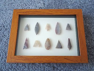 Neolithic Arrowheads in 3D Picture Frame, Authentic Artifacts 4000BC (0151)
